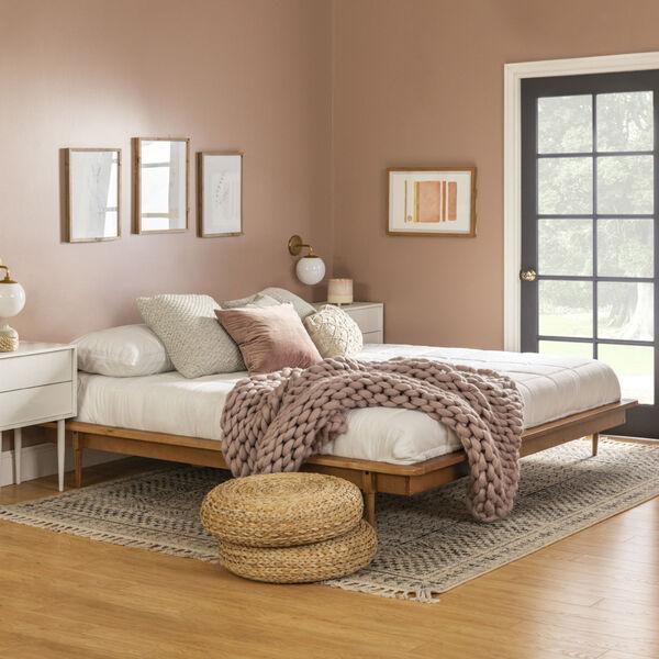Caramel Wooden King Platform Bed, image 1