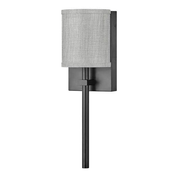 Avenue Black One-Light LED Wall Sconce with Heathered Gray Slub Shade, image 1
