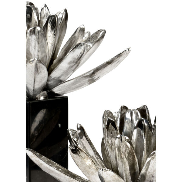 Black and White 11-Inch Water Lilies, Set of 2, image 2