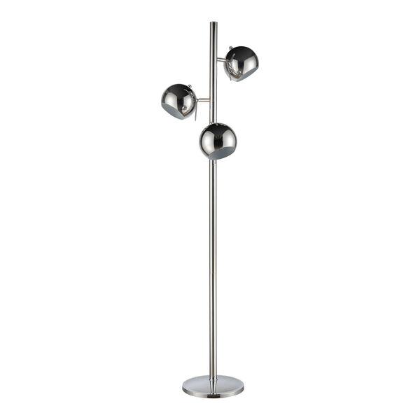 Meri Silver Chrome Three-Light Floor Lamp, image 2
