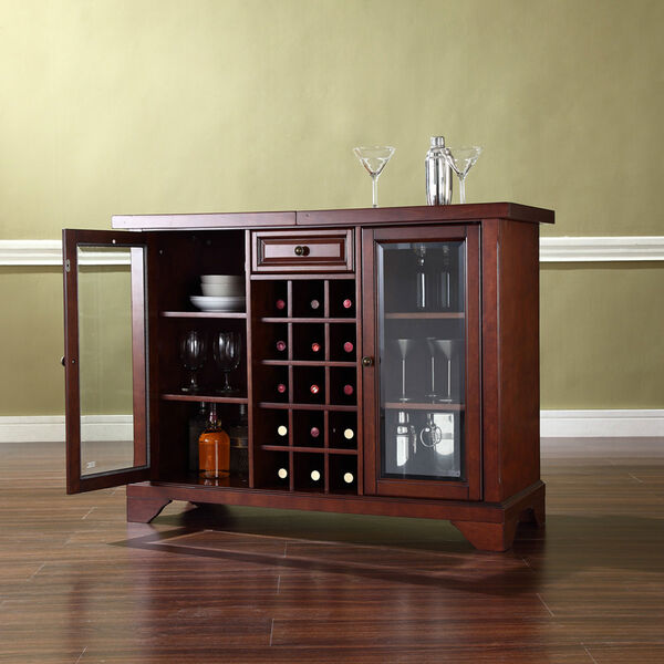 LaFayette Sliding Top Bar Cabinet in Vintage Mahogany Finish, image 3
