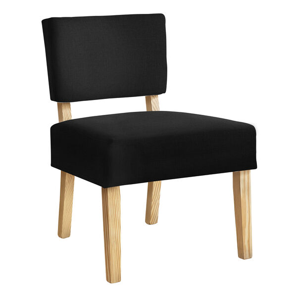 Black and Natural Armless Chair, image 1