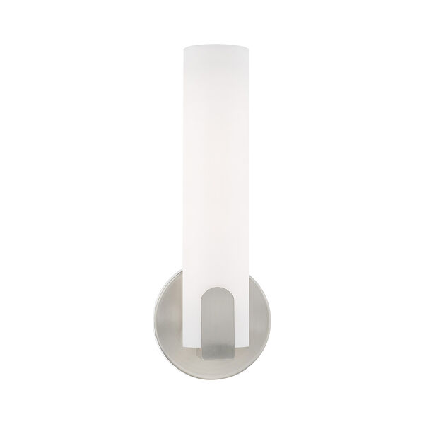 Lund Brushed Nickel 4-Inch ADA Wall Sconce with Satin White Acrylic Shade, image 3