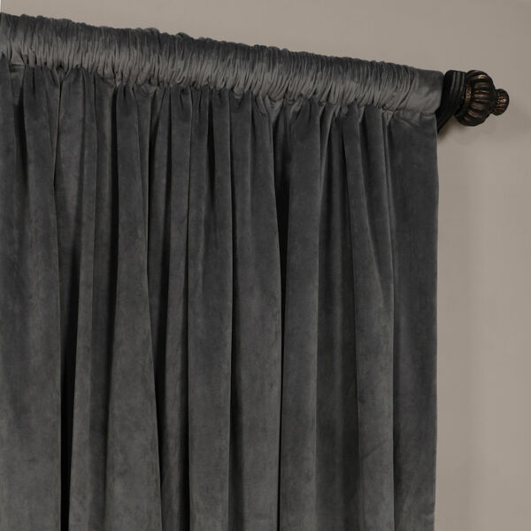 Natural Gray 120 x 100-Inch Doublewide Blackout Velvet Curtain, image 3
