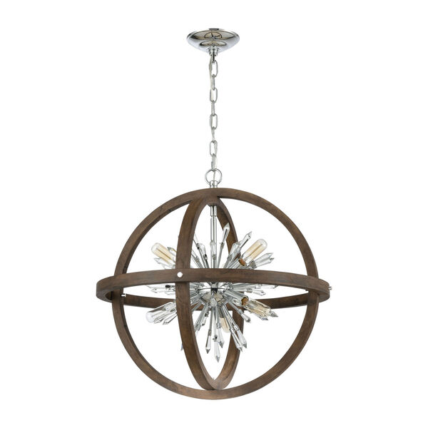 Morning Star Aged Wood and Polished Chrome 10-Light Chandelier, image 2