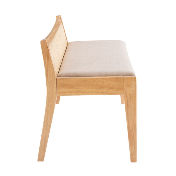 Lillian Natural and Beige Bench with Low Profile Back, image 3