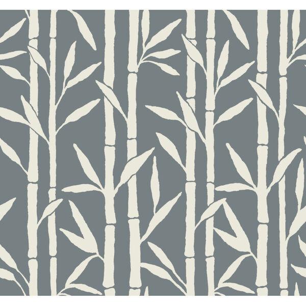 Antonina Vella Elegant Earth Blue Bamboo Grove Botanical Wallpaper, image 1