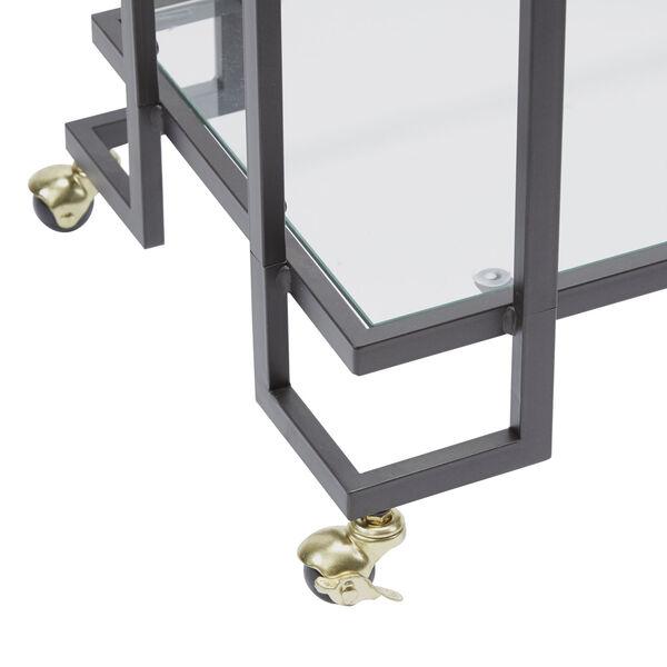 Gunmetal and Gold Two-Tier Rectangular Serving Cart, image 2