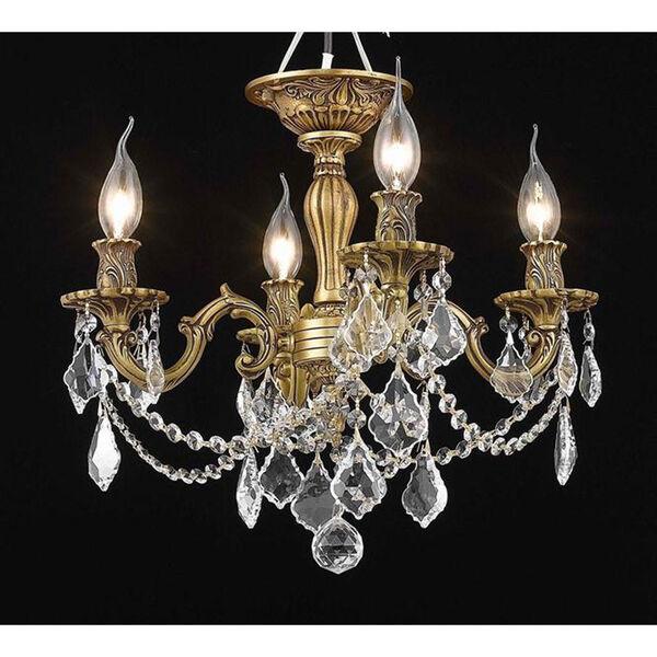 Rosalia French Gold Four-Light Flush Mount with Elegant Cut Crystal, image 1