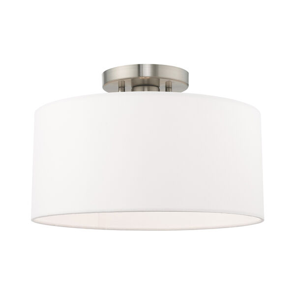 Clark Brushed Nickel 13-Inch One-Light Ceiling Mount with Hand Crafted Off-White Hardback Shade, image 1