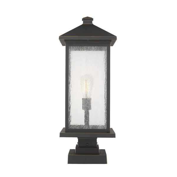 Oil Rubbed Bronze One-Light Outdoor Pier Mounted Fixture With Transparent Beveled Glass, image 1