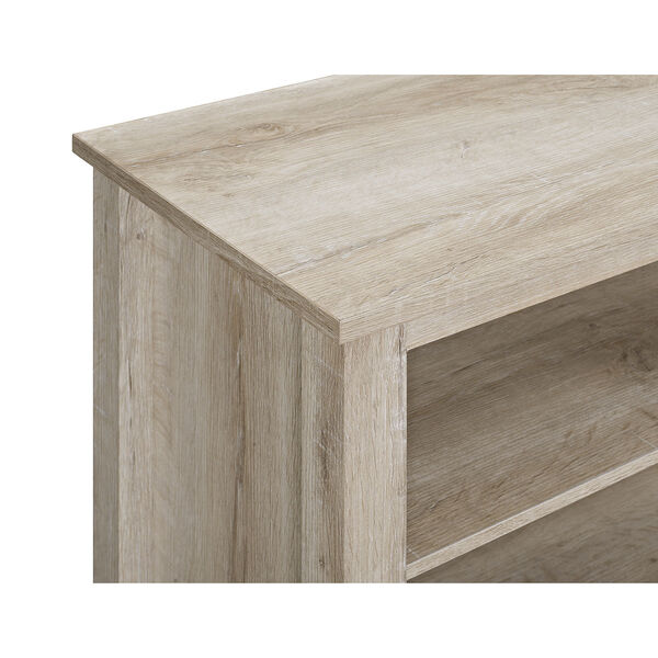 70-Inch Wood Media TV Stand Console with Fireplace - White Oak, image 4