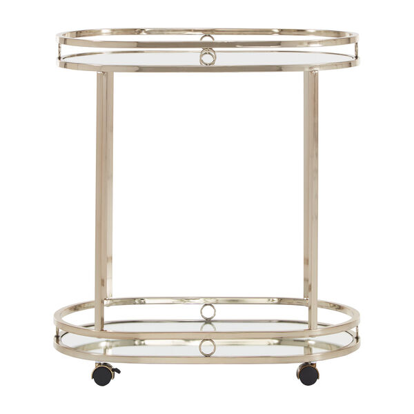 Lissa Champagne Gold Oval Bar Cart, image 2