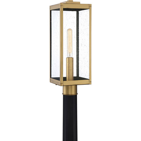 Pax Antique Brass One-Light Outdoor Post Mount with Seedy Glass, image 1