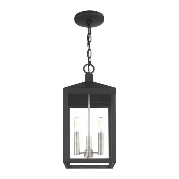 Nyack Black and Brushed Nickel Cluster Three-Light Outdoor Pendant Lantern, image 4