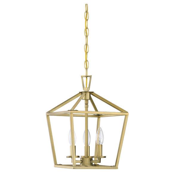 Townsend Warm Brass 10-Inch Three-Light Pendant, image 2