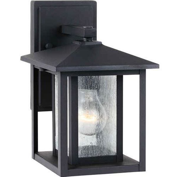 Hunnington Black 7-Inch Wide One-Light Outdoor Wall Lantern with Clear Seeded Glass, image 1