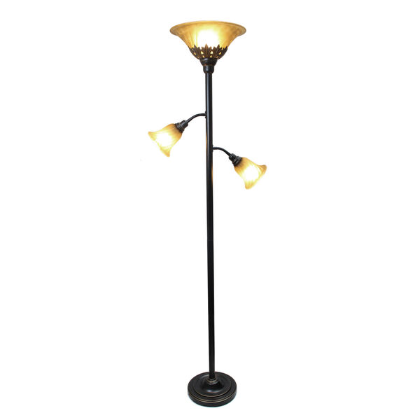 Quince Restoration Bronze Three-Light Floor Lamp with Amber Shade, image 2