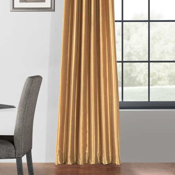 Flax Gold 50 x 108-Inch Blackout Vintage Textured Faux Dupioni Silk Curtain, image 5