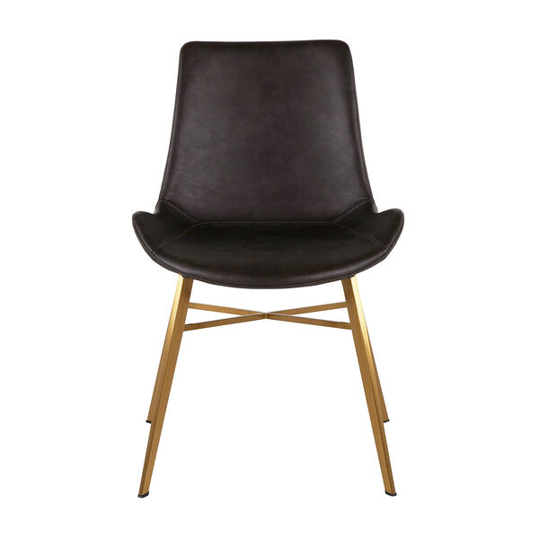 Hines Charcoal Brown and Gold Dining Chair, image 2