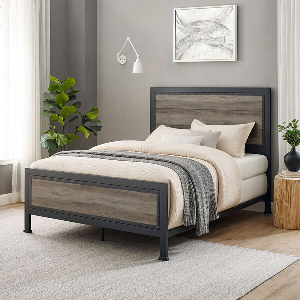 Queen Size Industrial Wood and Metal Bed - Grey Wash, image 7