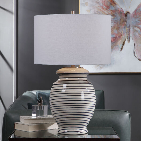 Marisa Brushed Nickel and Off-White Table Lamp, image 2