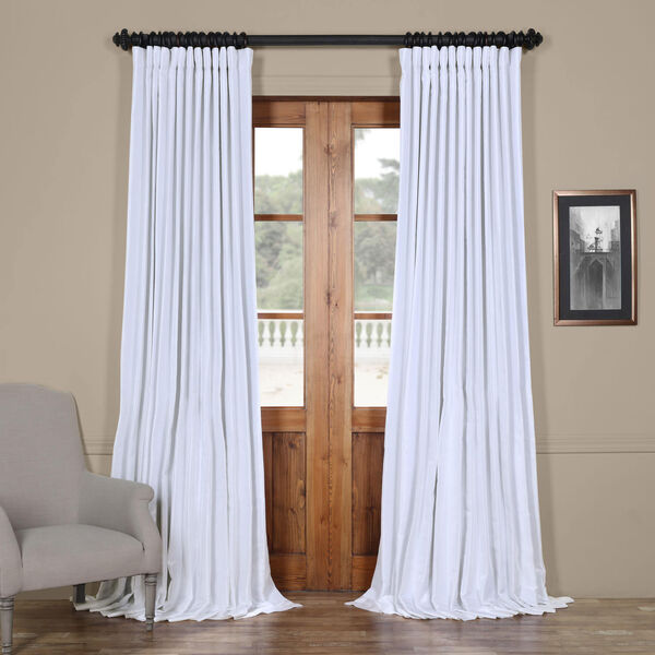 White Ice 96 x 100 In. Double Wide Vintage Textured Faux Dupioni Curtain Single Panel, image 1