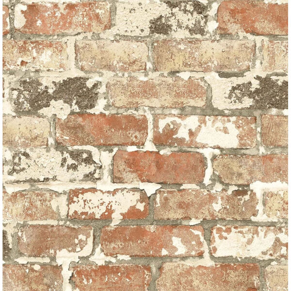 NextWall Weathered Red Brick Peel and Stick Wallpaper, image 2