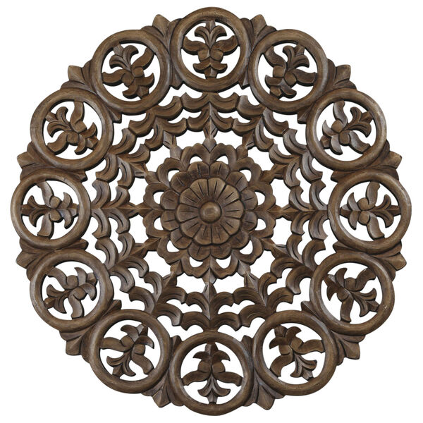 24-Inch Light Brown Solaris Five Wooden Wall Panel, image 1