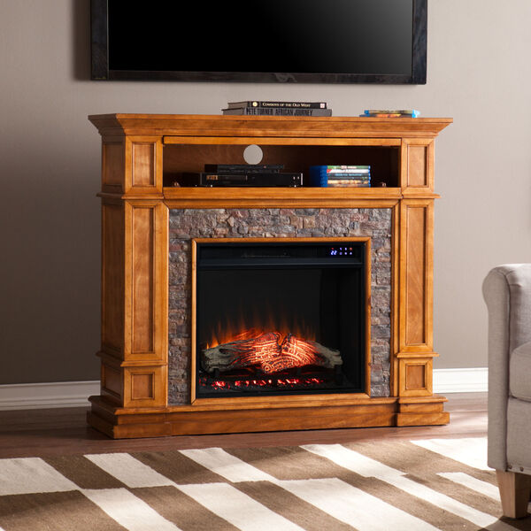 Belleview Sienna Electric Fireplace with Faux Stone, image 1