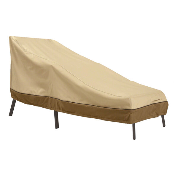 Ash Beige and Brown 86-Inch Patio Chaise Lounge Cover, image 1