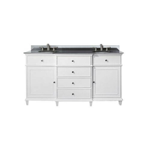 Windsor 60-Inch White Vanity with Black Granite top and Dual Undermount Sinks, image 1
