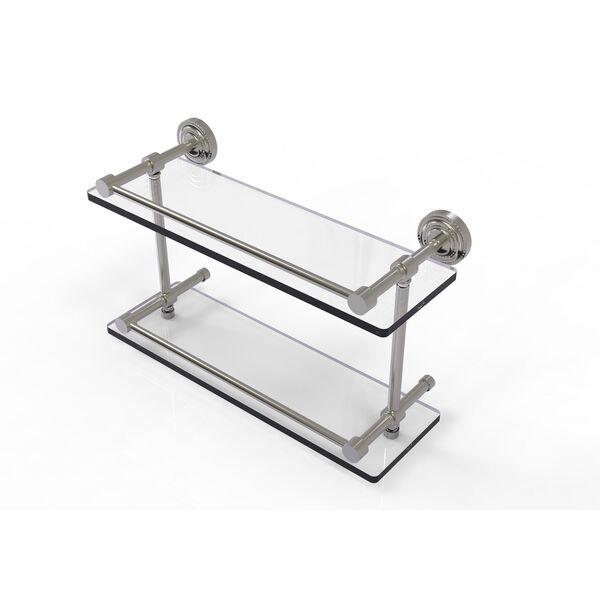 Dottingham 16 Inch Double Glass Shelf with Gallery Rail, Satin Nickel, image 1