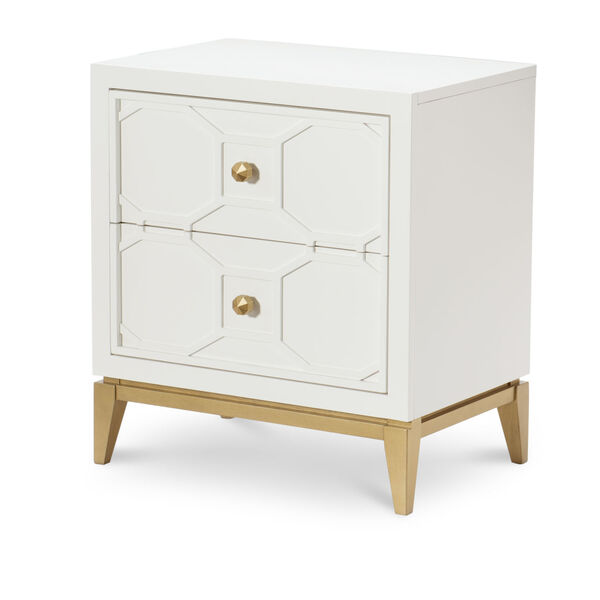 Chelsea by Rachael Ray White with Gold Accents Kids Nightstand with Decorative Lattice, image 1