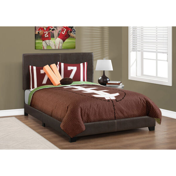 Full Size Dark Brown Leather-Look Bed, image 1