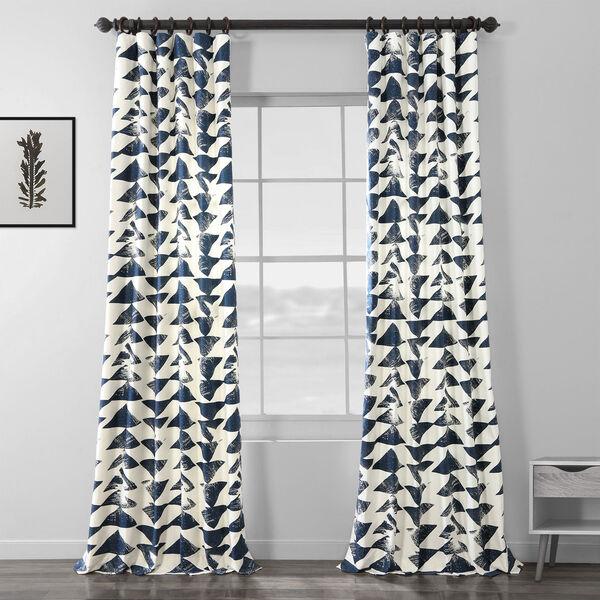 Triad Indigo 84 x 50 In. Printed Cotton Twill Curtain Single Panel, image 1