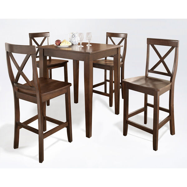 Five Piece Pub Dining Set with Tapered Leg and X-Back Stools in Vintage Mahogany Finish, image 2