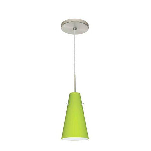 Cierro Satin Nickel One-Light Mini Pendant with Chartreuse Glass, image 2