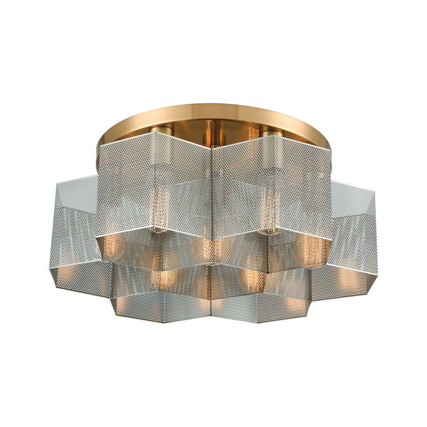 Compartir Satin Brass and Polished Nickel Seven-Light Semi Flush Mount, image 1