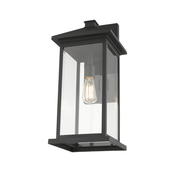 Black One-Light Outdoor 9-Inch Wall Sconce With Transparent Beveled Glass, image 4