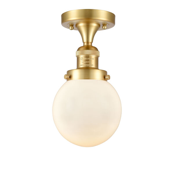 Franklin Restoration Satin Gold 11-Inch LED Semi-Flush Mount with Matte White Cased Beacon Shade, image 1