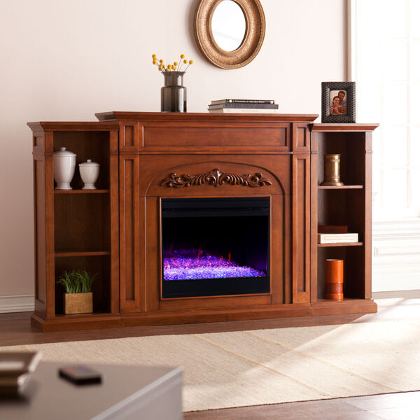 Chantilly Autumn oak Color Changing Electric Firplace with Bookcase, image 1