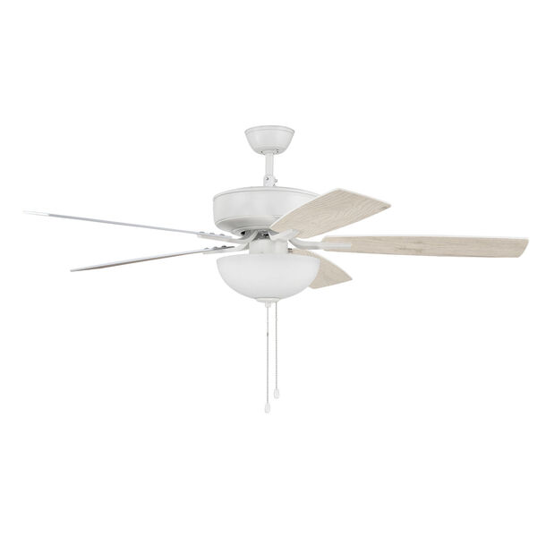 Pro Plus White 52-Inch Two-Light Ceiling Fan with White Frost Bowl Shade, image 4