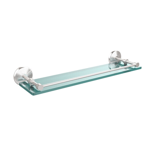 Monte Carlo 22 Inch Tempered Glass Shelf with Gallery Rail, Satin Chrome, image 1