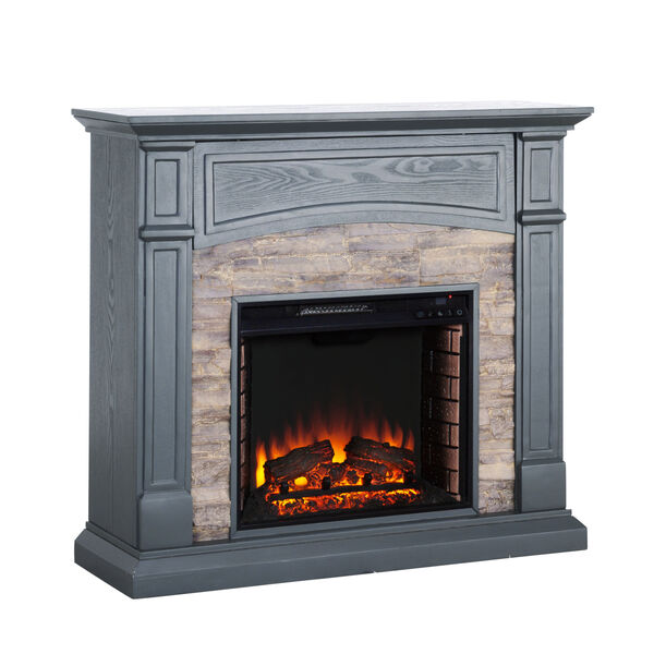 Seneca Cool Slate Gray Electric Media Fireplace with Weathered Stacked Stone, image 5