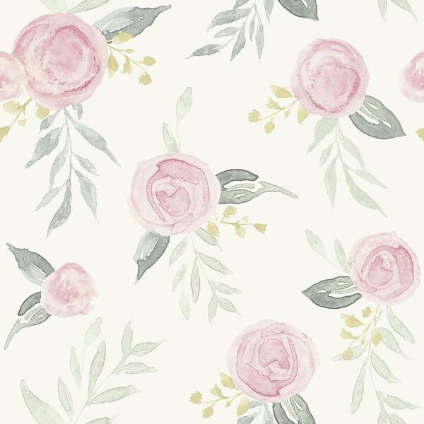 Magnolia Home Pink Watercolor Rose Peel and Stick Wallpaper, image 1