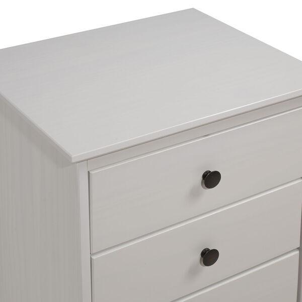 White Three Drawer Nightstand, image 4