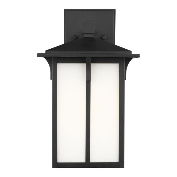 Tomek Black One-Light Outdoor Wall Sconce with Etched White Shade Energy Star, image 1