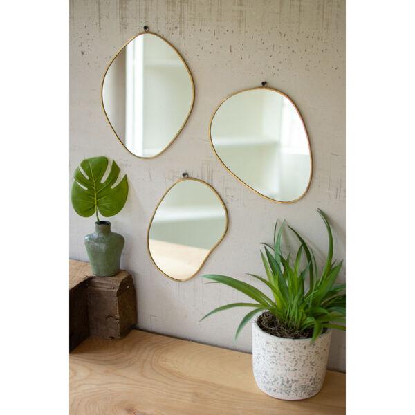 Brass Framed Organic Shaped Mirror, Set of 3, image 1