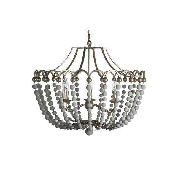 Peggy Champagne Silver and Dove White 28-Inch Chandelier, image 1